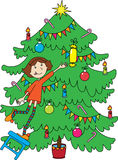 Little girl near christmas-tree Stock Photo