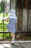 Little girl near fence Stock Images
