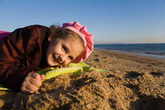 Little girl near the sea Stock Photography