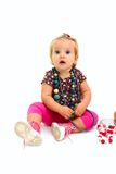 Little girl with necklace isolated on white background Royalty Free Stock Photography