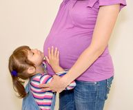 The little girl nestles on a stomach of pregnant mother Royalty Free Stock Photos