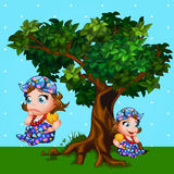 Little girl next to the tree, cartoon character Royalty Free Stock Photos