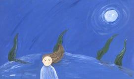 Little girl in the night. Acrylic illustration of little girl in the night Royalty Free Stock Image