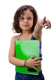 Little girl with notebook. In white background stock photography
