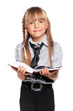 Little girl with notepad Royalty Free Stock Image