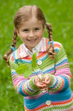 Little girl with oak seedling Royalty Free Stock Photo