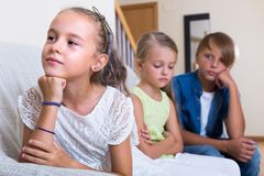 Little girl offended on other children Stock Photos