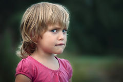 The little girl is offended Royalty Free Stock Images