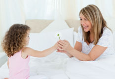 Little girl offering a gift to her grandmother. At home royalty free stock photos
