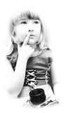 Little girl with an old classic camera royalty free stock photography