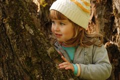 Little girl and old tree Royalty Free Stock Photos