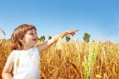 Little Girl On A Wheat Field Stock Photo