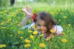 Little Girl On Nature. Stock Photos