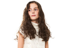 Little Girl On White Stock Photography