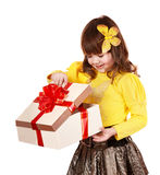 Little girl open gift box. Stock Photos