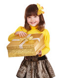 Little girl open gift box. Royalty Free Stock Photography