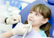 Little girl with open mouth during drilling treatm Royalty Free Stock Images