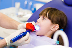 Little girl with open mouth receiving dental filli Stock Images