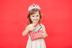 Little girl open red gift box Royalty Free Stock Image