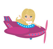 Little girl Operating a Plane Stock Photo