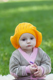 Little girl in an orange beret Royalty Free Stock Image