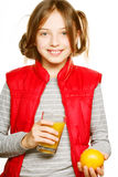 Little girl with oranges and juice Stock Image