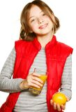 Little girl with oranges and juice. Isolated on white Stock Image