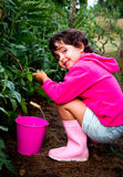 Little girl in orchard Royalty Free Stock Photography