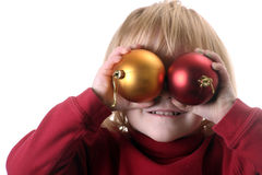Little girl with ornaments stock photography