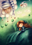 Little girl and сounting sheep. Illustration of a little girl and сounting sheep Stock Image