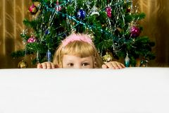 Little girl out from white cloth against Christmas trees Royalty Free Stock Photography