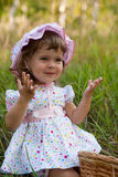 Little girl in the outdoor stock photo