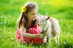Girl hugging a goat in the garden on green grass Stock Image