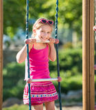 Little girl on outdoor playground Royalty Free Stock Photos