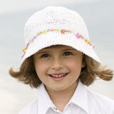 Little girl outdoor portrait. Cute girl on the water background stock photos