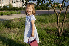 Little girl outdoors Stock Photos
