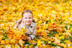 Little girl outdoors on autumn day Stock Photo