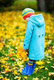 Little girl outdoors on autumn day Royalty Free Stock Photos