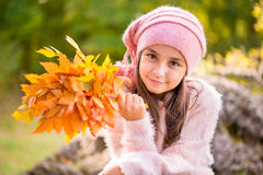 Little girl outdoors at beautiful autumn day Royalty Free Stock Images