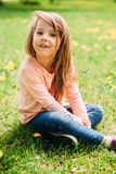 Little girl outdoors with long hair Royalty Free Stock Photo