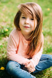 Little girl outdoors with long hair Royalty Free Stock Photography