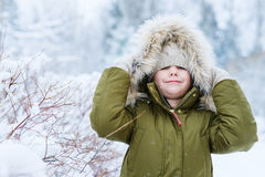 Little girl outdoors on winter Royalty Free Stock Images