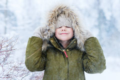 Little girl outdoors on winter Stock Image