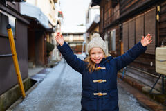 Little girl outdoors on winter Royalty Free Stock Image