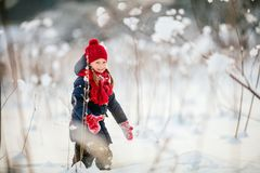 Little girl outdoors on winter. Adorable little girl wearing warm clothes outdoors on beautiful winter snow day Royalty Free Stock Photography