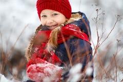 Little girl outdoors on winter Stock Photos