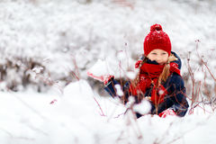 Little girl outdoors on winter Stock Photography