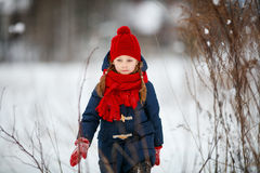Little girl outdoors on winter Royalty Free Stock Photography