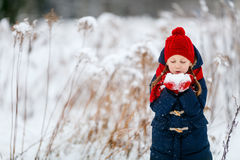 Little girl outdoors on winter. Adorable little girl wearing warm clothes outdoors on beautiful winter snowy day Stock Photo