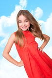 Little girl  over sky background Royalty Free Stock Images